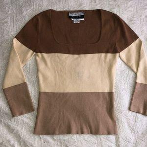 Wayne Rogers tan multi color sweater
